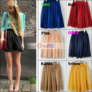 Retro-high-waist-pleated-double-layer-chiffon-skirt-Pompon-Mini-skirts
