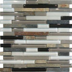 sample slate stone glass gray white linear mosaic tile