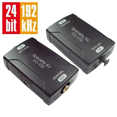 Toslink Optical To Coax Coaxial Digital Audio Converter 24bit/192k Sampling Rate