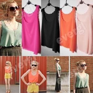 Ladies-See-Through-Sexy-Sheer-Petal-Wave-Chiffon-Coloured-Tank-Top-Shirt-Vest