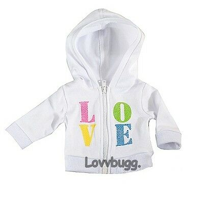 "Lovvbugg Love Hoodie Jacket for 18"" American Girl Doll Clothes"