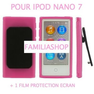 housse etui coque silicone rose avec clip pour ipod nano 7
