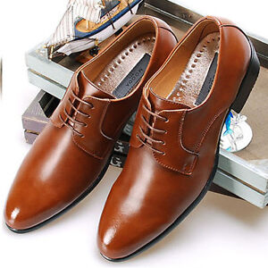 New-Comfort-Mens-Dress-Shoes-Formal-Lace-up-Oxfords-Classic-Leather-Casual-Brown