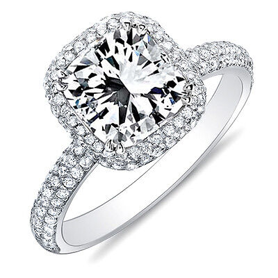 1.75 Ct. Radiant Cut Micro Pave Halo Round Diamond 14K Engagement Ring D,VS1 GIA