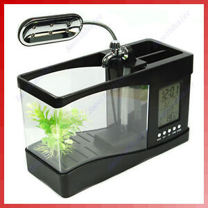 Mini-LCD-Desktop-Fish-Tank-Aquarium-Clock-Timer-USB-AA
