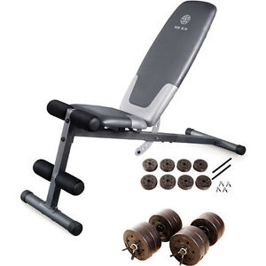 Golds Gym Utility Bench Exercise Weight Lifting Workout Bonus 40 Lb Weight Set