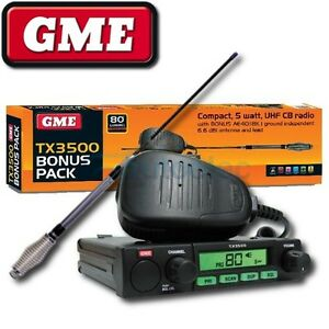 GME-80-CHANNEL-TX3500-UHF-CB-RADIO-5-WATT-MODEL-NEW-AE4018K1-ANTENNA-PACK
