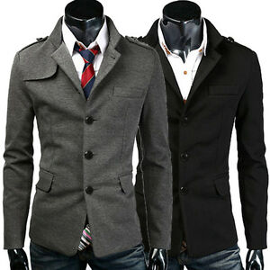 Trendy-New-Mens-Slim-fit-Stylish-Casual-Peacoat-Button-Blazer-Jacket-Suit-Coat