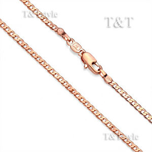T&T 3mm 9K Rose Gold Filled Curb Chain Necklace (CF112)