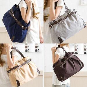 Big-Size-Ladys-Canvas-Messenger-Shoulder-Hand-Bag-Tote-Purse-CB0554