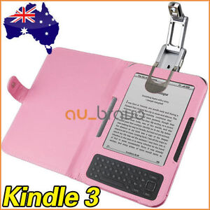 Leather Case Cover with LED Reading Light for Amazon Kindle 3 3G Wifi