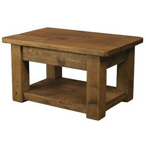 New Solid Wood Coffee Table Chunky Rustic Plank Pine Display Storage Shelf Ebay