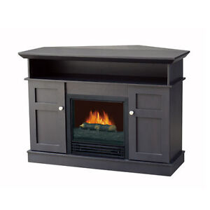 flametec 1250w electric fireplace heater csa csaus tv stand cappuccino corner ebay. Black Bedroom Furniture Sets. Home Design Ideas