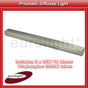 Fluorescent 2 x 36w Prismatic Diffused Light Fluro Batten Lighting