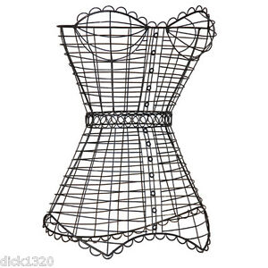 SHABBY-CHIC-BLACK-WIRE-MESH-FREE-STANDING-BUSTIERRE-NEW