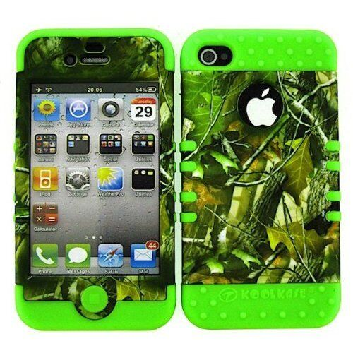 2 in 1 Case Hybrid Hard Cover For Apple iPhone 4 4S Camo Green Leaves On Lime