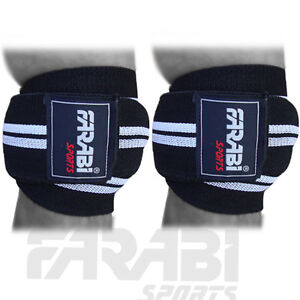 knee-wraps-weight-lifting-bandage-straps-knee-support-guard-pads-velcro-closure