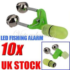 10 Sea Night Fishing Bell Alarm Rod Clip Tip Fish Bite Indicator Tool LED Light