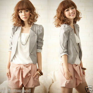Womens-Waist-length-Puff-Short-Lace-Sleeve-Casual-Suits-Blazer-Jacket-Outerwear