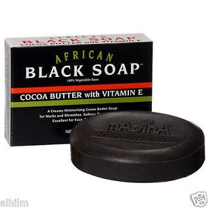 African Black Soap Herbal Natural Cocoa Butter Vitamin E Vegetable Base Madina