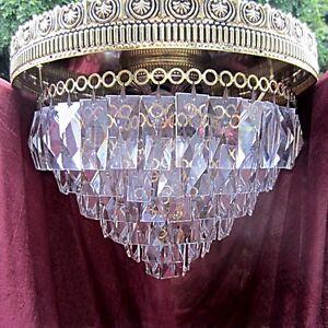Vintage-Schonbeck-Luminaire-Ceiling-Light-Fixture-w-Tiered-Crystal-Prisms