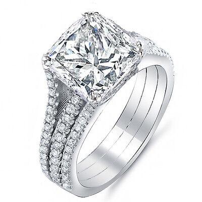 3.26 Ct. Princess Cut Diamond Engagement Ring w/ Round Pave F,VS2 GIA 18K Gold