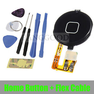 Black-Home-Button-Keypad-With-Flex-Cable-Replacement-Tools-For-iPhone-3GS-NEW