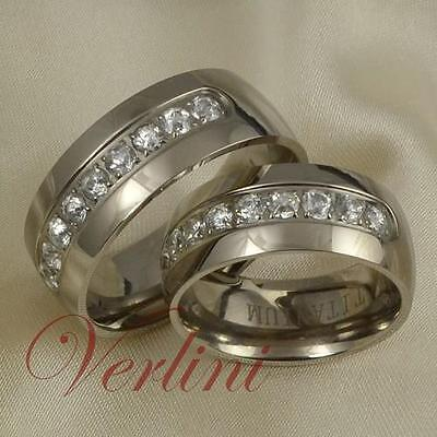 8mm Titanium Wedding Rings Set Simulated Diamond Bands Fo...