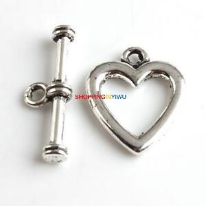 Bulk FREE PP 20 Set Heart Shape Tibet Silver Toggle Clasp FindingS 22mm  A341