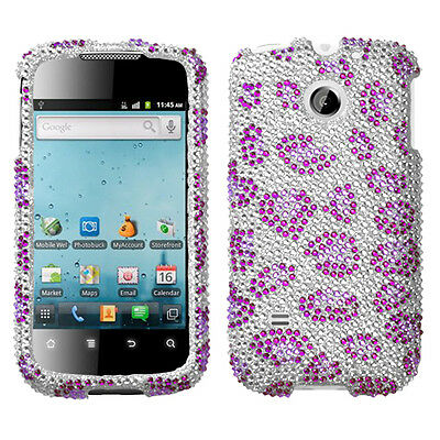 For Huawei T Mobile Prism U8651t Crystal Bling Case Phone Cover Purple Cheetah