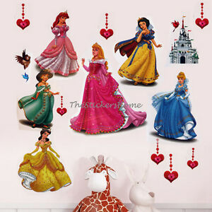 Large Disney Princess Wall Stickers Girls Children Kids Baby Bedroom Decal Vinyl