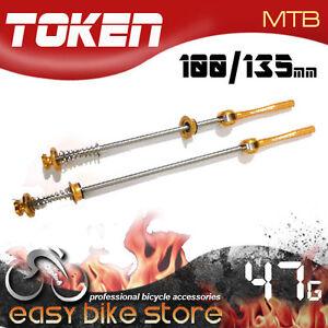 TK480M-TOKEN-TK480-Ti-Axle-Hubset-QR-skewer-GOLD-MTB-100MM-135MM