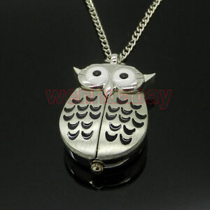 Cool-Silver-Night-Owl-Necklace-Pendant-Quartz-Pocket-Watch-China-Girl-Womens-P26