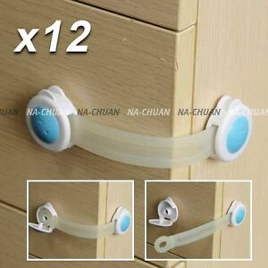 12 pcs Cupboard Door Drawers Security Safety Locks For Child Kids Toddler