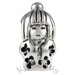 Japanese-Girl-Silver-European-Spacer-Charm-Bead-For-Bracelet-Necklace-EB649