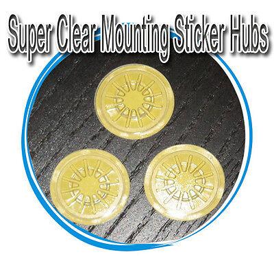 50-pk Generi Clear Plastic CD DVD Hub Center Buttons Mounting Sticker Dots Spots