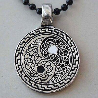 Pendant Necklace Jewelry Taijitu Taoism Celtic Yin Yang Silver Pewter Amulet