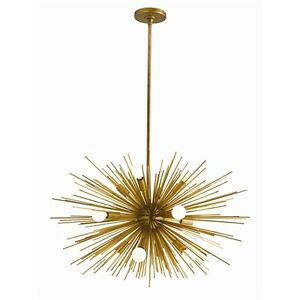 Modern chandeliers ceiling lighting fixtures antique brass chandeliers - Starburst 12 Light Chandelier Antique Brass Sputnik Mid