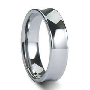 ... -Mens-Concave-Tungsten-Ring-Wedding-Band-Size-4-18-incl-half-quarter