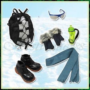 For Ken's Hiking 6 Items Set Outdoor Bag Shoes Gloves Kettle Scarf Glasses Acces