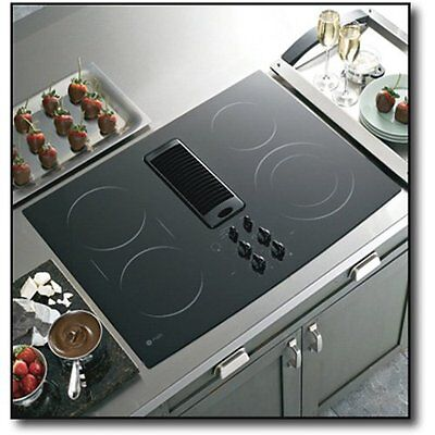 "GE Profile 30"" Downdraft Electric Cooktop Black Glass Top PP989DNBB on Rummage"