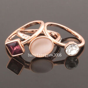 3-In-1-18k-Rose-Gold-GP-Swarovski-Crystal-Cats-Eyse-Fashion-Ring-R1263