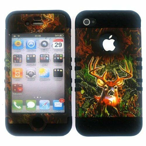 2 in 1 Case Hybrid Hard Cover For Apple iPhone 4 4S Hunter Camo Deer on Black