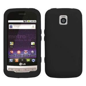 Black Silicone SKIN Case Cover for LG Optimus M MS690
