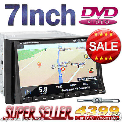 "Fee Camera+Official Map 7"" 2 Din Car CD DVD Player GPS Navigation 3D PIP In Dash on Rummage"