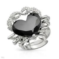 HEART SHAPED RING WITH A BLACK CRYSTAL CRAFTED IN STERLING SILVE