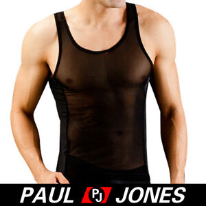 NEW-Sexy-Mens-See-Through-Sleeveles-T-shirt-Thermal-underwear-Tank-top-Vest-Tops