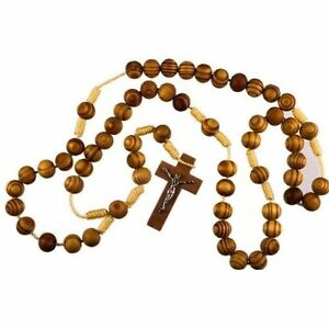 BETHLEHEM-OLIVE-WOOD-Light-Brown-Rosary-Beads-Wooden