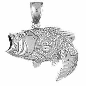 Sterling silver bass fish pendant charm made in usa 211 ebay for Silver bass fish