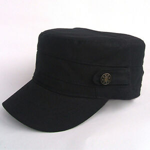 Stylish-Adjustable-Classic-Cool-Army-Cadet-Military-Flat-Top-Hat-Cap-Black